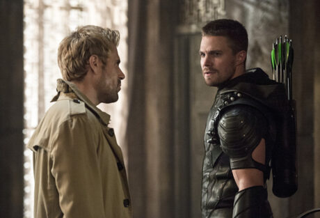 "Arrow -- ""Haunted"" -- Image AR404B_0351b.jpg -- Pictured (L-R): Matt Ryan as Constantine and Stephen Amell as The Arrow -- Photo: Cate Cameron/ The CW -- © 2015 The CW Network, LLC. All Rights Reserved."