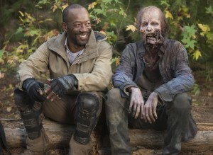 Lennie James and Walker - The Walking Dead _ Season 5, Episode 16 _ BTS - Photo Credit: Gene Page/AMC
