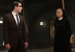 AMERICAN HORROR STORY I Am Anne Frank, Pt. 2 -- Episode 205 (Airs Wednesday, November 14, 10:00 pm e/p) -- Pictured: (L-R) Zachary Quinto as Dr. Oliver Thredson, Jessica Lange as Sister Jude -- CR: Byron Cohen/FX